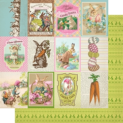 Authentique - Cottontail Collection - Eight, Cut-Aparts journaling cards/green bunny pattern - 12