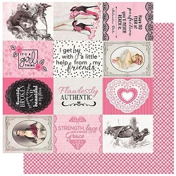 Authentique - Flawless Collection - Six, pink gingham/journal cards - 12