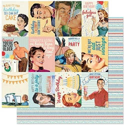 Authentique - Hooray Collection - Eight, Birthday stripes/journal cards - 12