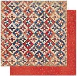 Authentique - Liberty Collection - Two, Star Quilt/Red Paisley - 12