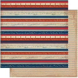 Authentique - Liberty Collection - Three, Small Stars/Patriotic Stripes - 12