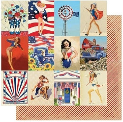 Authentique - Liberty Collection - Seven, Pinup Cards/Red Stripes - 12