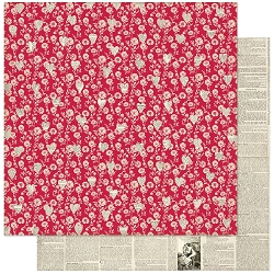 Authentique - Love Notes Collection - One, Red Floral/Newsprint - 12