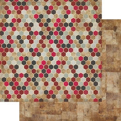 Authentique - Manly Collection - Three, Wood Texture/Hexagons - 12