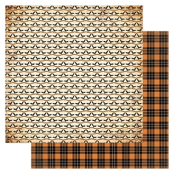 Authentique - Masquerade Collection - One, bats/orange plaid - 12