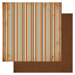 Authentique - Masquerade Collection - Six, orange stripes/orange gingham - 12