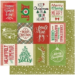 Authentique - Rejoice Collection - Twenty-Two, Christmas sentiments/green stars- 12