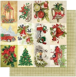 Authentique - Rejoice Collection - Twenty-Four, Vintage Christmas Cut-Aparts/Green Gingham - 12
