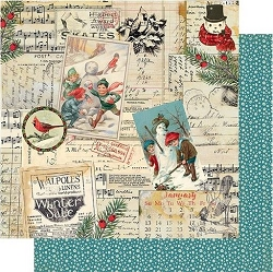 Authentique - Snowfall Collection - Five, Vintage collage/Teal dot - 12