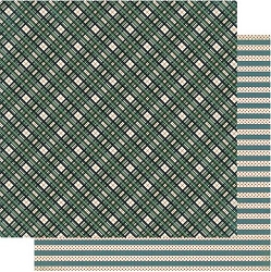 Authentique - Snowfall Collection - Six, Green Plaid/polka-dot stripe - 12