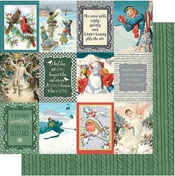 Authentique - Snowfall Collection - Eight, Cut-Aparts journaling cards/green sweater knit - 12