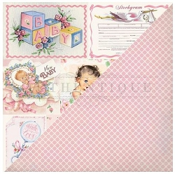 Authentique - Swaddle Girl Collection - Seven, pink squares/baby girl cutouts