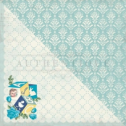 Authentique - Swaddle Boy Collection - Two, blue damask/baby blocks