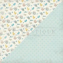 Authentique - Swaddle Boy Collection - Three, blue geometric/toy icons