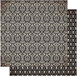 Authentique - Twilight Collection - Six, skulls/black damask - 12
