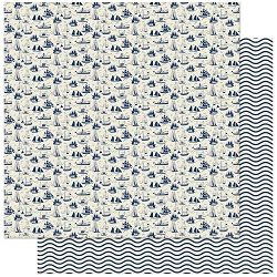 Authentique - Voyage Collection - Nine, Blue ships/Wavy Lines - 12