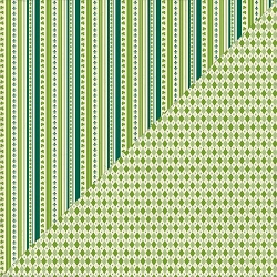 Authentique - Clover Collection - One, green argyle/icon stripes