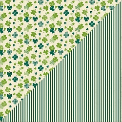 Authentique - Clover Collection - Four, green stripes/shamrocks
