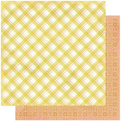Authentique - Dreamy Collection - Five, Plaid/Coral geometric - 12