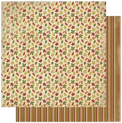Authentique - Gracious Collection - Four, fall leaves/stripes - 12