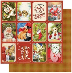 Authentique - Christmas Greetings Collection - One, Christmas pet cut-apart/Plaid - 12