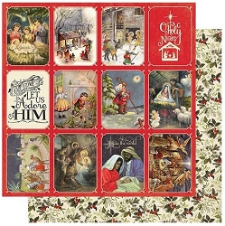 Authentique - Christmas Greetings Collection - Four, Faith Christmas cut-aparts/Holly - 12