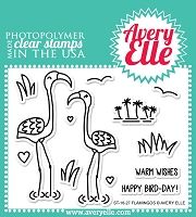 Avery Elle - Clear Stamps - Flamingos