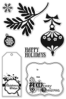Hero Arts Clear Stamp - Basic Grey - Aspen Frost - Happy Holidays