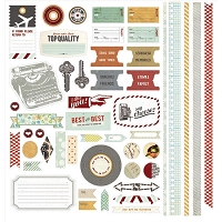 Basic Grey - Clippings Collection - 12X12 Cardstock Stickers - Elements