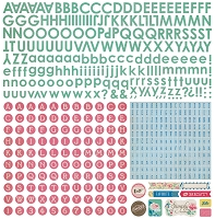 Basic Grey - Mint Julep Collection - 12x12 Alphabet Stickers