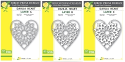 Birch Press - Cutting Die - Dahlia Heart Layer Set