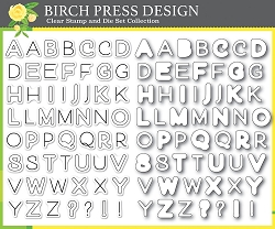 Birch Press - Clear Stamp - Mod Alphabet Stamp & Die Set