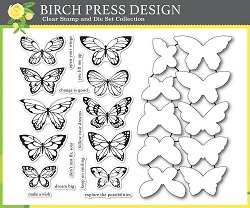Birch Press - Clear Stamp - Lovely Butterflies Stamp & Die Set