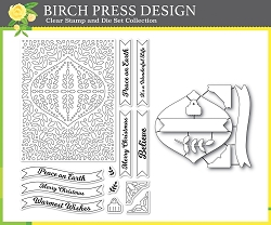 Birch Press - Clear Stamp & Die Set - Christmas Ornament and Labels