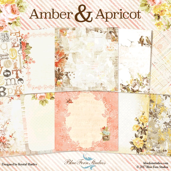 Amber & Apricot Collection (paper, chipboard, flowers)