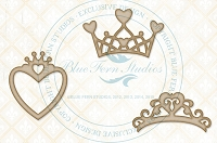 Blue Fern Studios - Chipboard - Heart Crowns