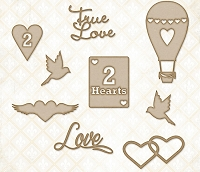 Blue Fern Studios - Chipboard - 2 Hearts Set