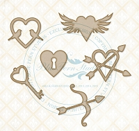 Blue Fern Studios - Chipboard - Valentine Hearts