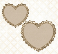Blue Fern Studios - Chipboard - Frilly Hearts