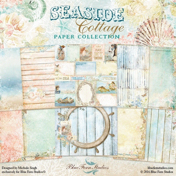 Seaside Cottage Collection (paper, chipboard, flowers)