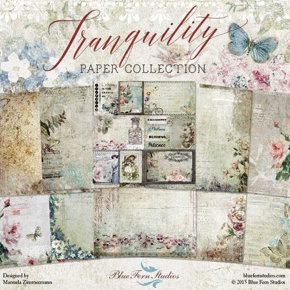 Tranquility Collection (paper, stamps, chipboard)