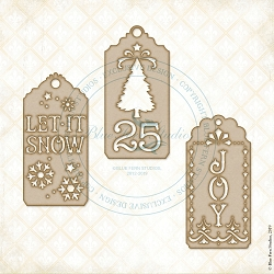 Blue Fern Studios - Good Tidings Tags Chipboard