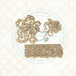 Blue Fern Studios - Floral Lace Chipboard