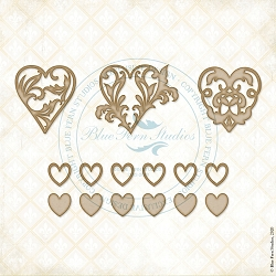 Blue Fern Studios - Hearts A Flutter Chipboard