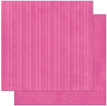 Bo-Bunny - Double Dot Cardstock - Pink Punch Stripe