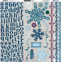 Bo Bunny - Midnight Frost Collection - 12x12 Combo Sticker Sheet