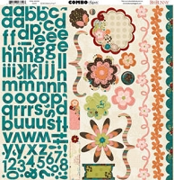 Bo Bunny - Olivia Collection - 12x12 Combo Sticker Sheet