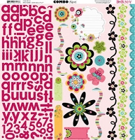 Bo Bunny - Petal Pushers Collection - 12x12 Combo Sticker Sheet :)