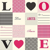 Canvas Corp - 12x12 Cardstock - Love, Amour, Amore on Ivory