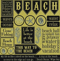 Canvas Corp - 12x12 Cardstock - Black and Kraft Beach Sampler